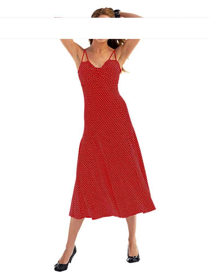 heine superhuebsches rotes kleid mit weissen punkten neu. Black Bedroom Furniture Sets. Home Design Ideas